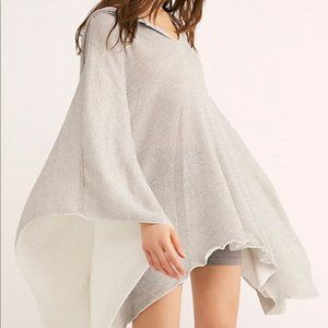 Free People   Silver Metallic Lure Shimmer Poncho   OS